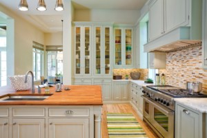 Country area rugs used in kitchen
