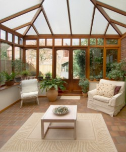 Using an inside/outside area rug can really warm up your patio or sun room