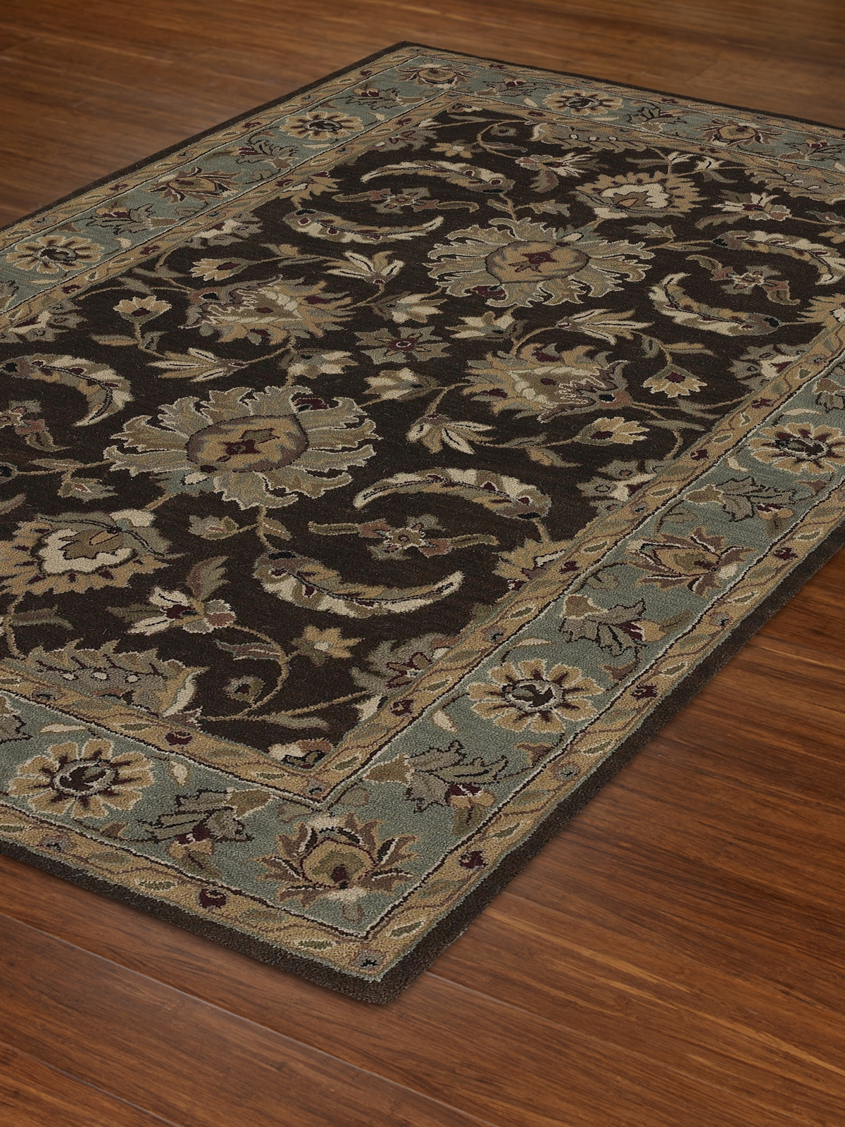 Dalyn Jewel Jw37 Chocolate And Spa Blue Area Rug Free