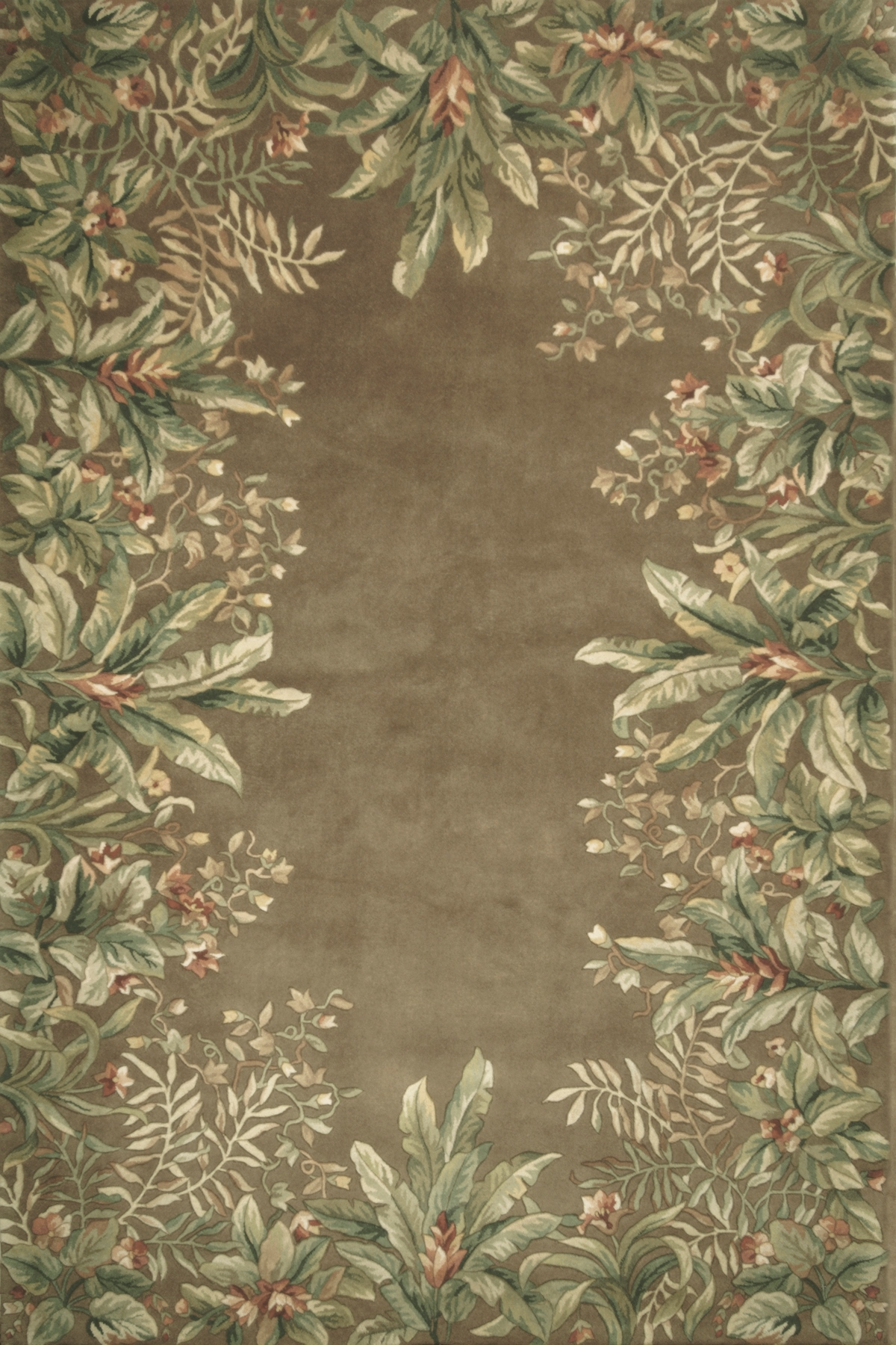 Kas Emerald 9000 Taupe Tropical Border Area Rug Free