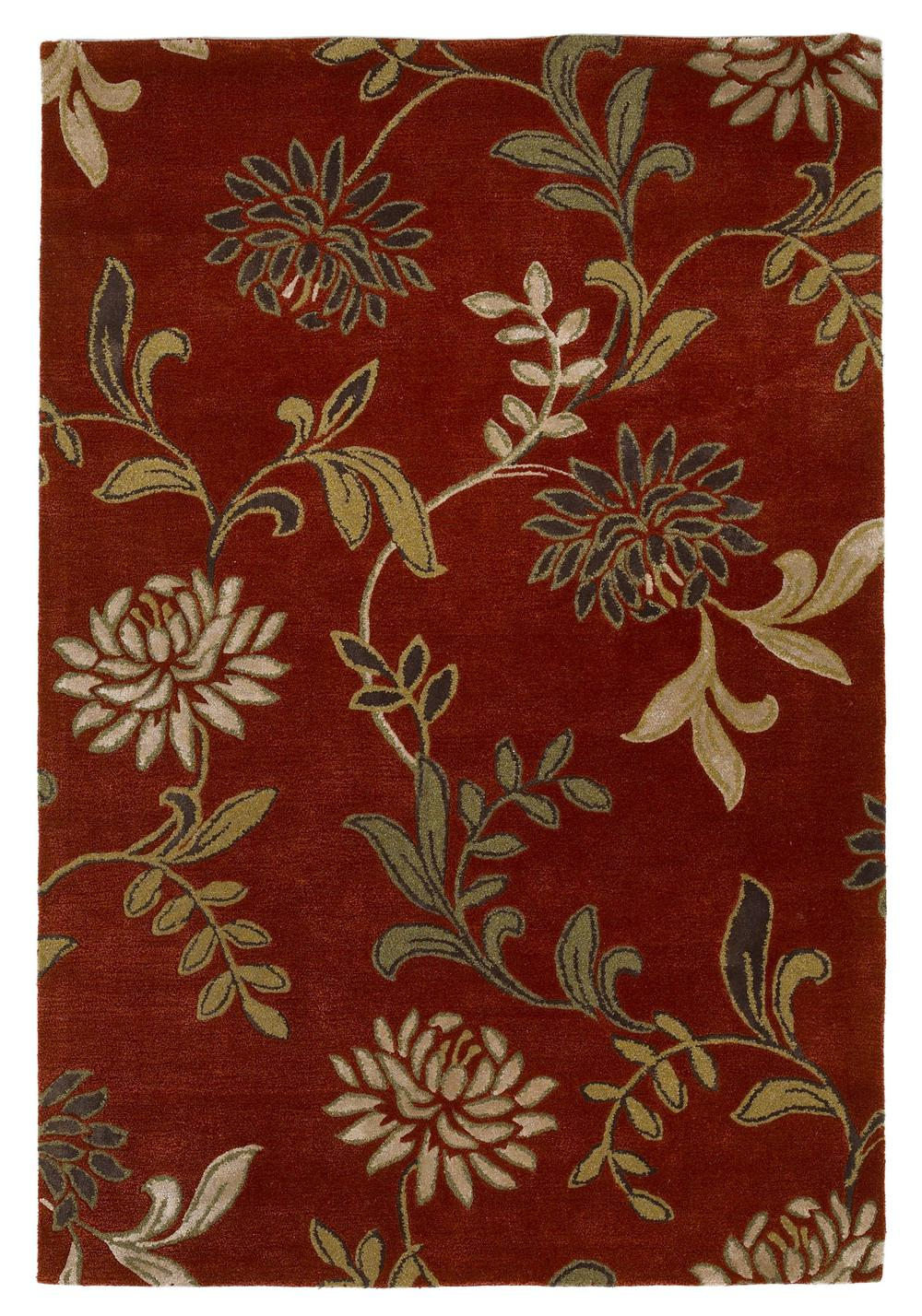 Kas Florence 4562 Red Floral Area Rug Free Shipping
