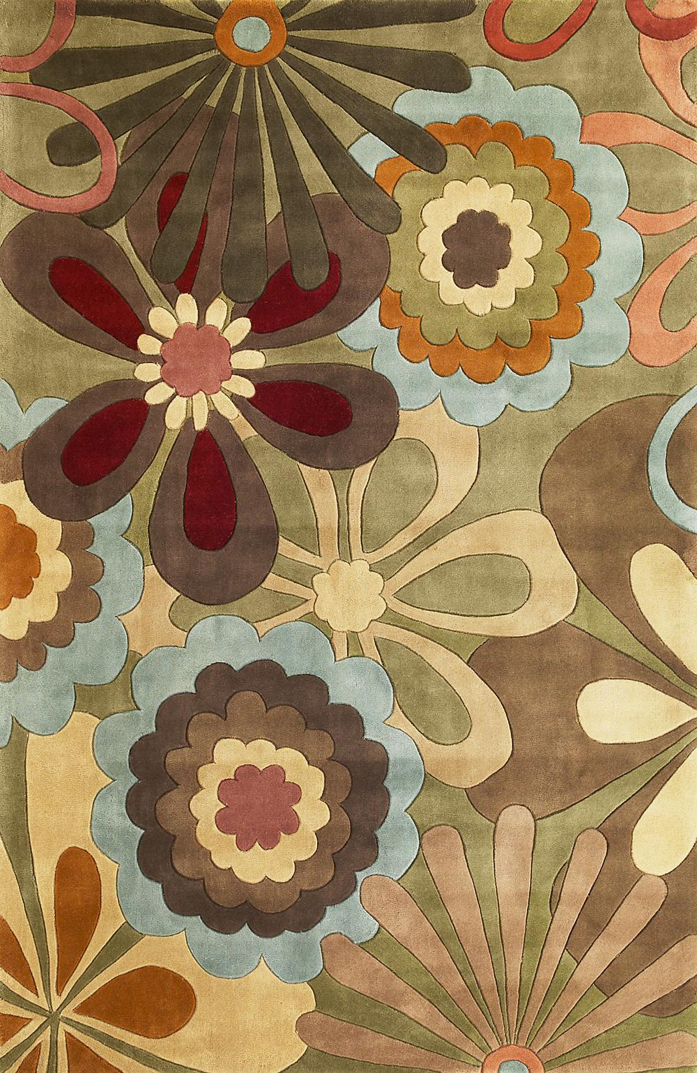Design Retro Rug kas ruby 8918 sage retro flora area rug free shipping hover to zoom