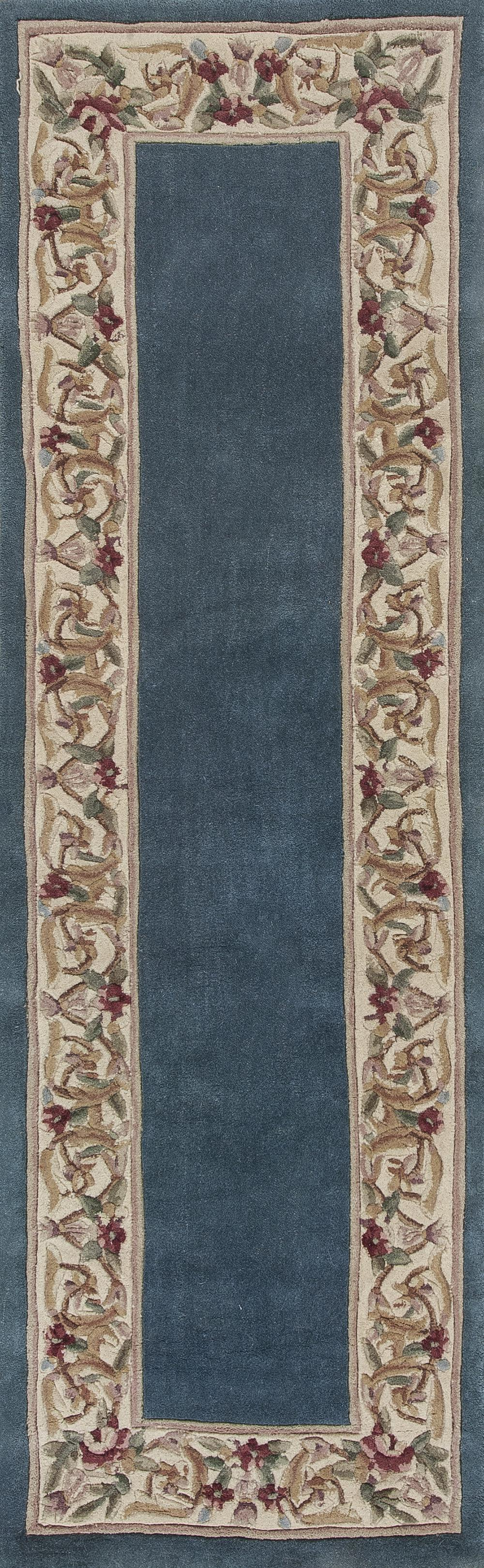 Kas Ruby 8940 Slate Blue Floral Border Area Rug Free