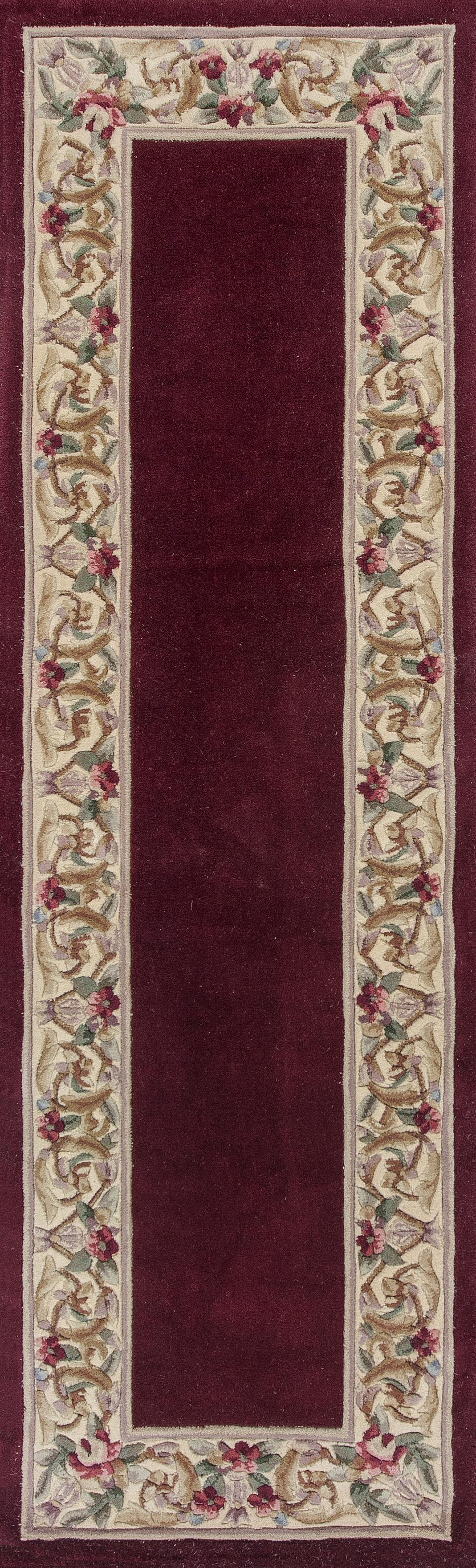 Kas Ruby 8979 Ruby Floral Border Area Rug Free Shipping