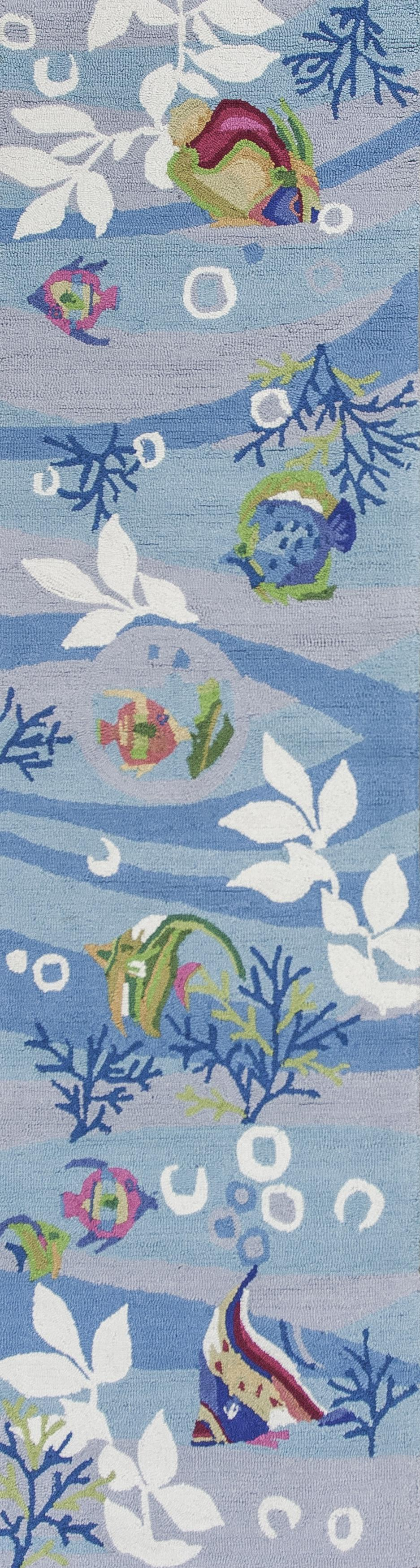 Kas Sonesta 2011 Blue Tropical Fish Area Rug Free Shipping