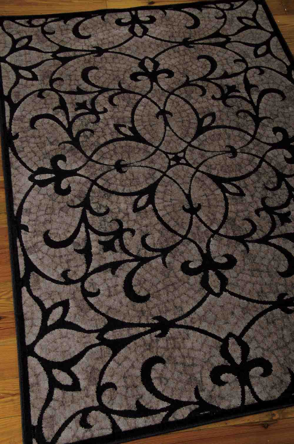 Nourison Graphic Illusions Gil05 Black Area Rug Free
