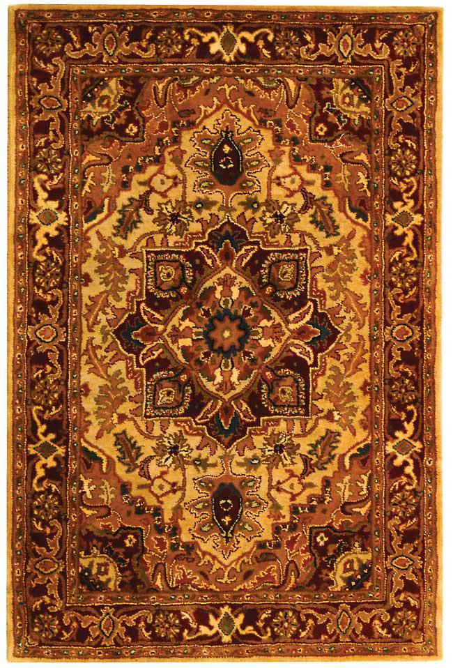 Safavieh classic cl763a light gold and red area rug free for Red and gold area rugs
