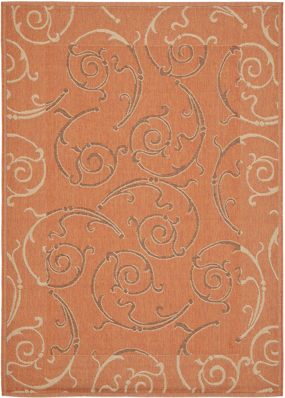 21a7 Terracotta And Cream Area Rug