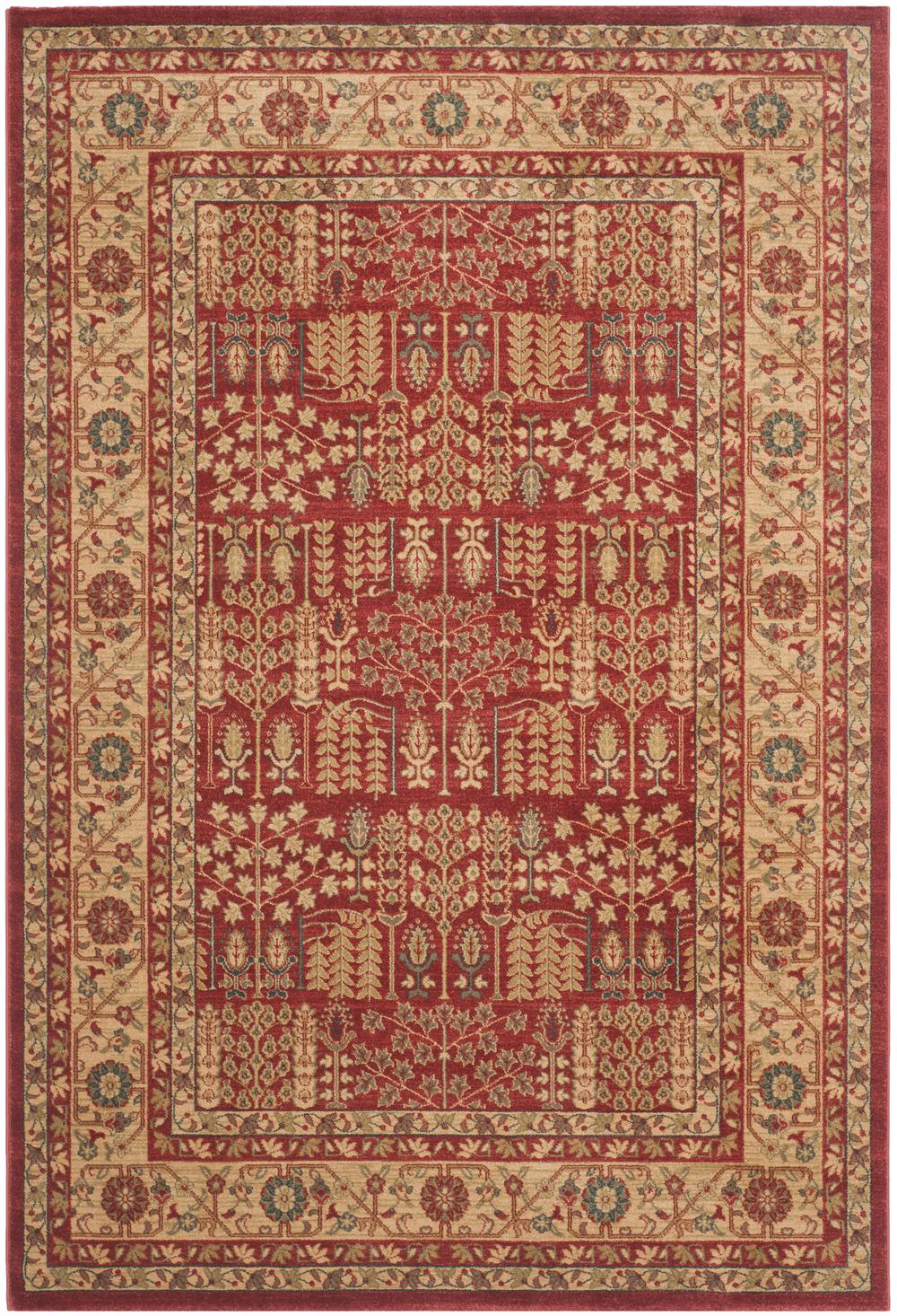 Safavieh Mahal Mah697a Red And Natural Area Rug Free
