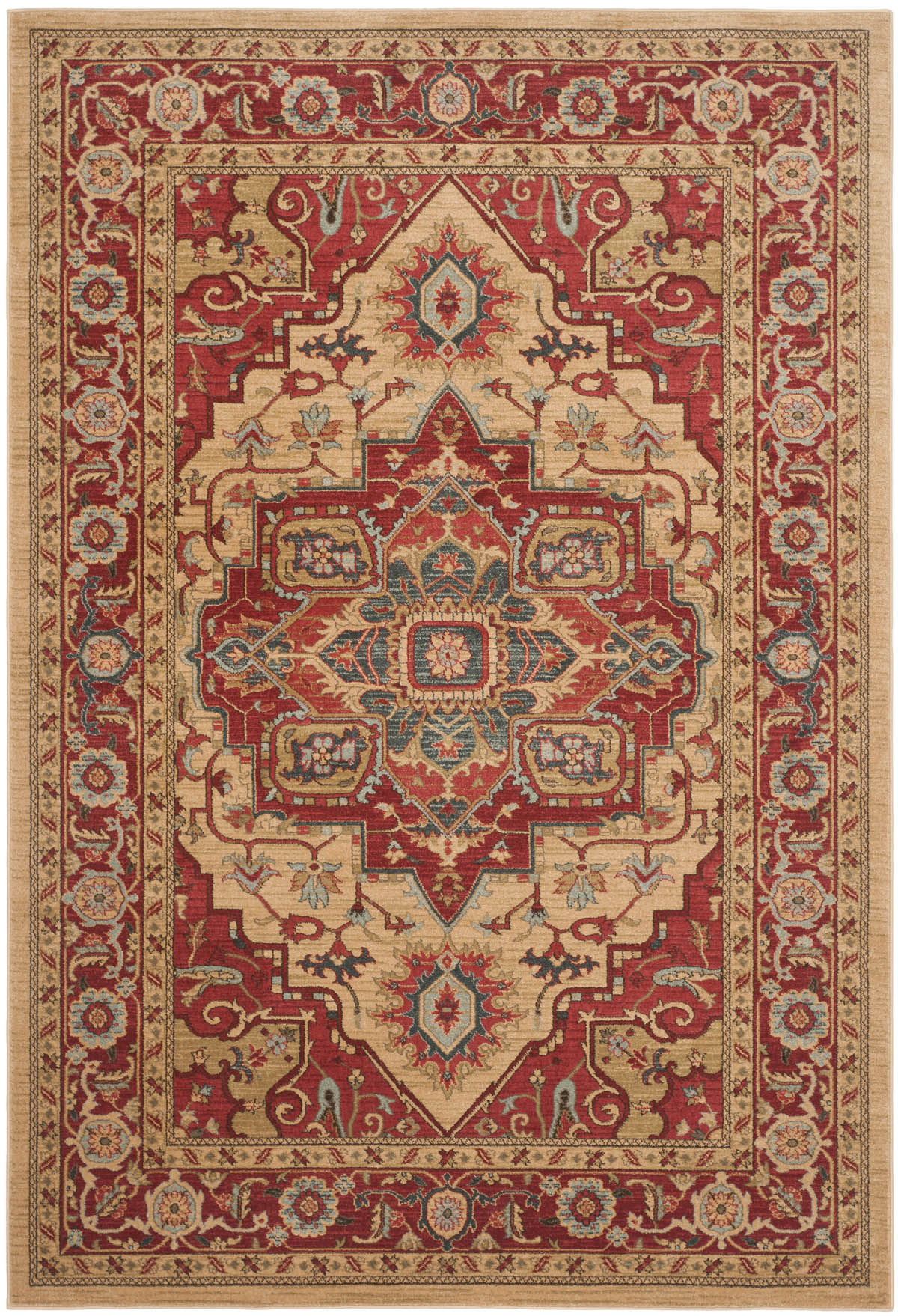 Safavieh Mahal Mah698a Red And Natural Area Rug Free