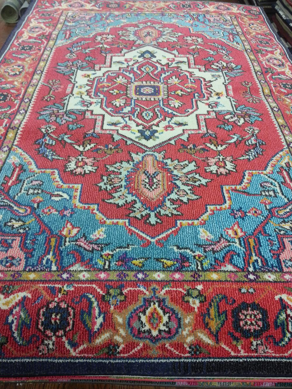MNC207C Red and Turquoise Area Rug
