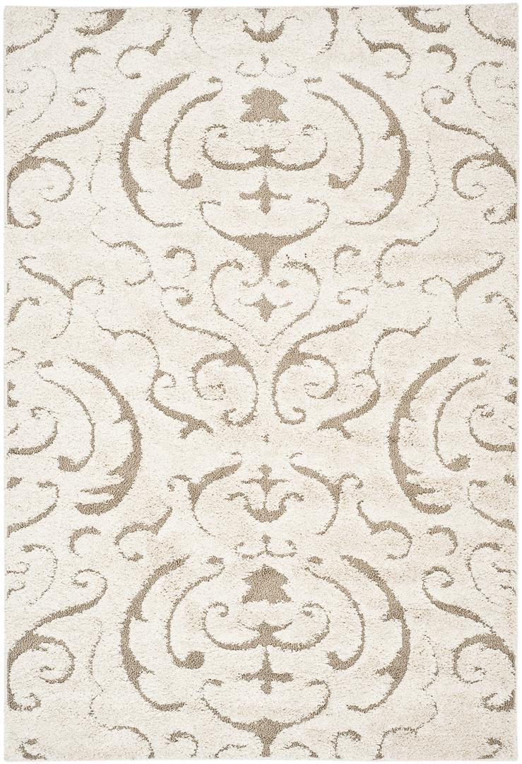 Safavieh Willow Shag Cream Dark Brown Round Indoor Machine Made Area Rug Common 5 X Actual Ft Dia In The Rugs Section Of Lowes Com