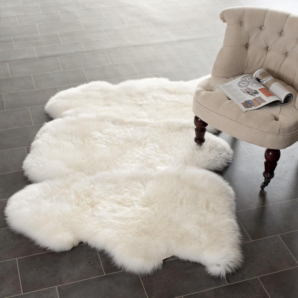 Safavieh Sheepskin Shag Shs121a White Area Rug Free Shipping