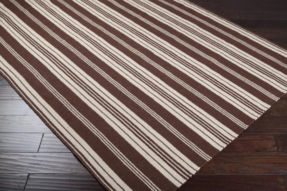 Surya Farmhouse Stripes Far7004 Brown Area Rug Free Shipping