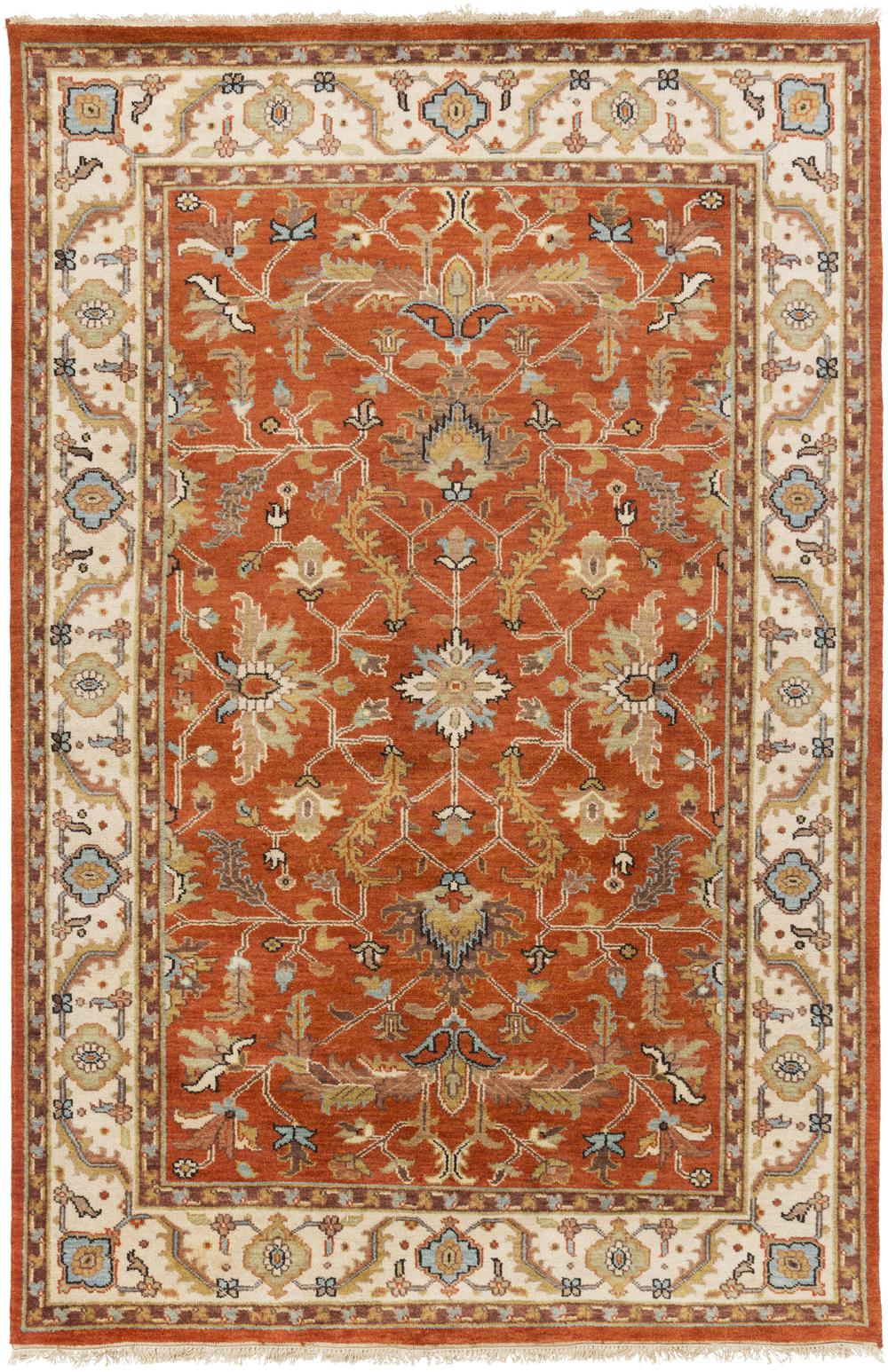Surya Zeus Zeu7824 Orange Area Rug Free Shipping