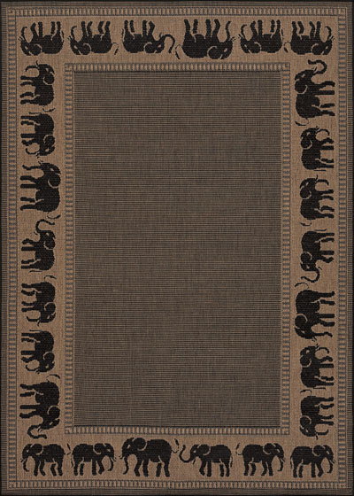 Couristan Recife Elephant and Cocoa/Black 1588/1021