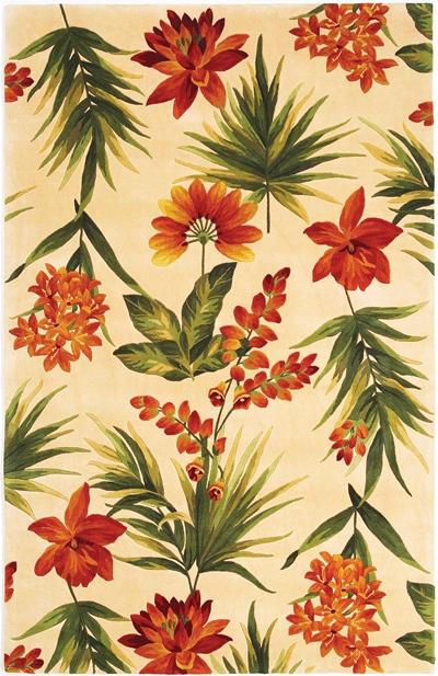 KAS Catalina  0780 Ivory Tropical Flora area rug