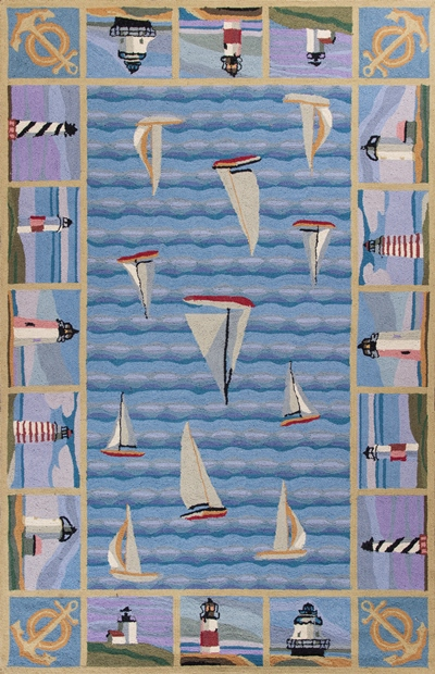 KAS Colonial  1335 Blue Light Houses area rug