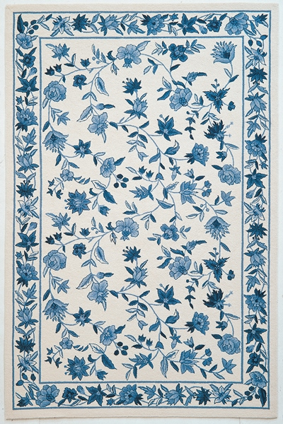 KAS Colonial  1727 Ivory/Blue Floral