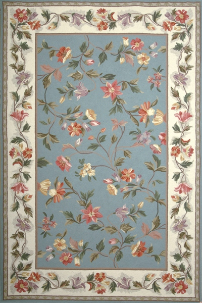 KAS Colonial  1728 Slate Blue/Ivory Floral