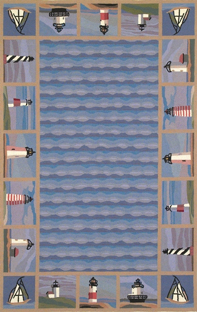 KAS Colonial  1802 Blue Lighthouse Waves area rug