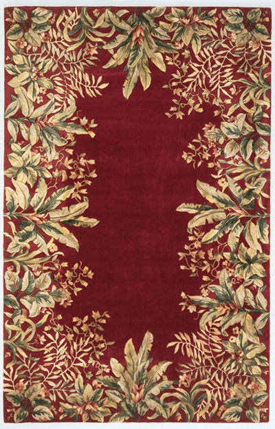 KAS Emerald  9017 Ruby Tropical Border area rug
