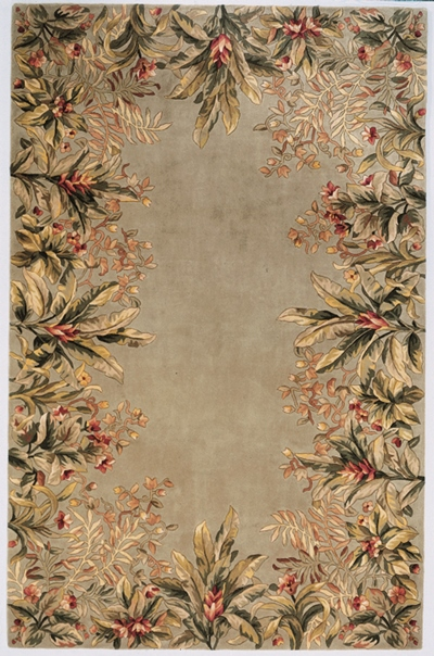 KAS Emerald  9026 Sage Tropical Border area rug