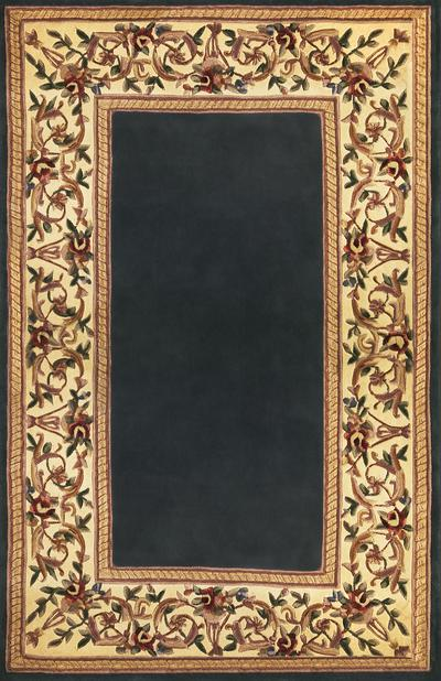 KAS Ruby  8940 Slate Blue Floral Border area rug