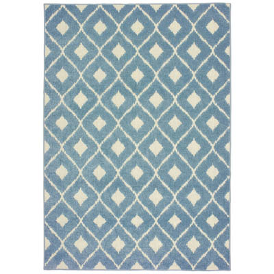 Oriental Weavers Barbados 5502B Blue and Ivory