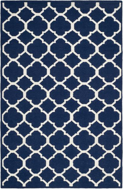 Safavieh Dhurries DHU627D Navy and Ivory