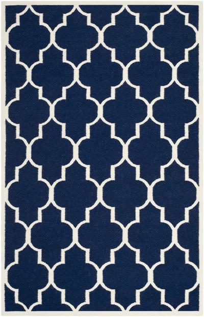 Safavieh Dhurries DHU632D Navy and Ivory
