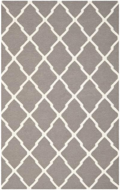 Safavieh Dhurries DHU634G Dark Grey and Ivory