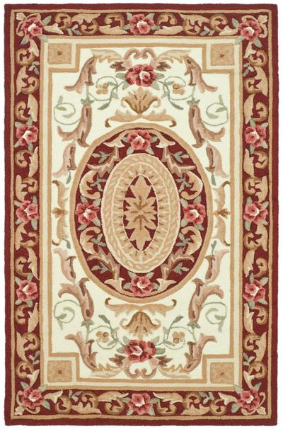 Safavieh DuraRug EZC472A Ivory and Burgundy area rug
