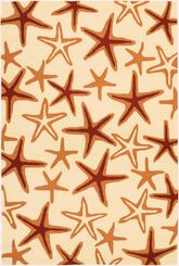 Couristan Beachfront Starfish and Ivory/Coral 2693/4000