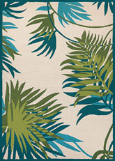 Couristan Covington Jungle Leaves and Ivory/Forest Green 2992/0505