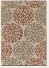 Couristan Five Seasons Montecito and Cream/Coral Red 3089/1791