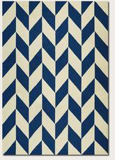 Couristan Covington Herringbone and Navy/Ivory 5148/8564