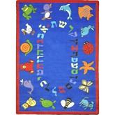 Joy Carpets Kid Essentials ABC Animals Hebrew Alphabet Blue