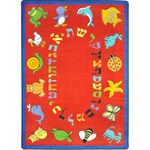Joy Carpets Kid Essentials ABC Animals Hebrew Alphabet Red