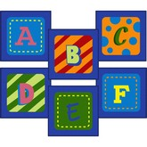 Joy Carpets Kid Essentials Alphabet Leaves Sitting Squares Multi