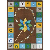 Joy Carpets Kid Essentials Alphabet Pinwheel Earthtone