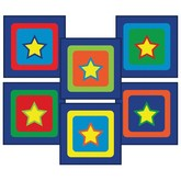 Joy Carpets Kid Essentials Sitting Stars Sitting Squares Multi