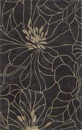 KAS Bali  2816 Charcoal/Taupe Floral Chic