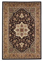 KAS Cambridge  7327 Black/Beige Kashan Medallion