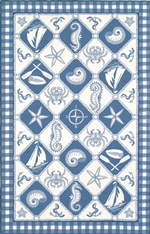 KAS Colonial  1807 Blue/Ivory Nautical Panel