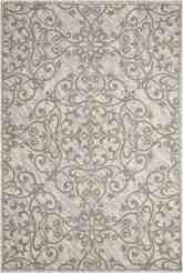 Nourison Damask DAS01 Ivory and Grey