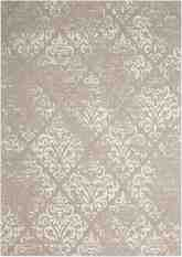 Nourison Damask DAS03 Ivory and Grey