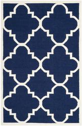 Safavieh Dhurries DHU633D Navy and Ivory