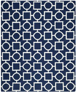 Safavieh Dhurries DHU639D Navy and Ivory