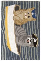 Trans Ocean Frontporch Puss In Boat Blue 1487/03